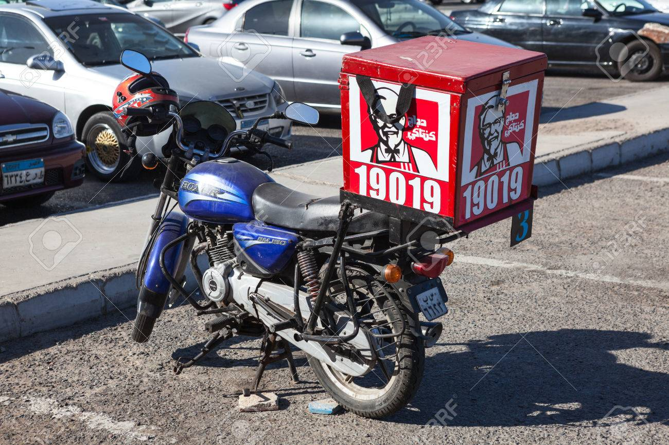 Hurghada Egypt Circa Nov 2015 The Kfc Delivery Bike Is On Stock Photo Picture And Royalty Free Image Image 55274101