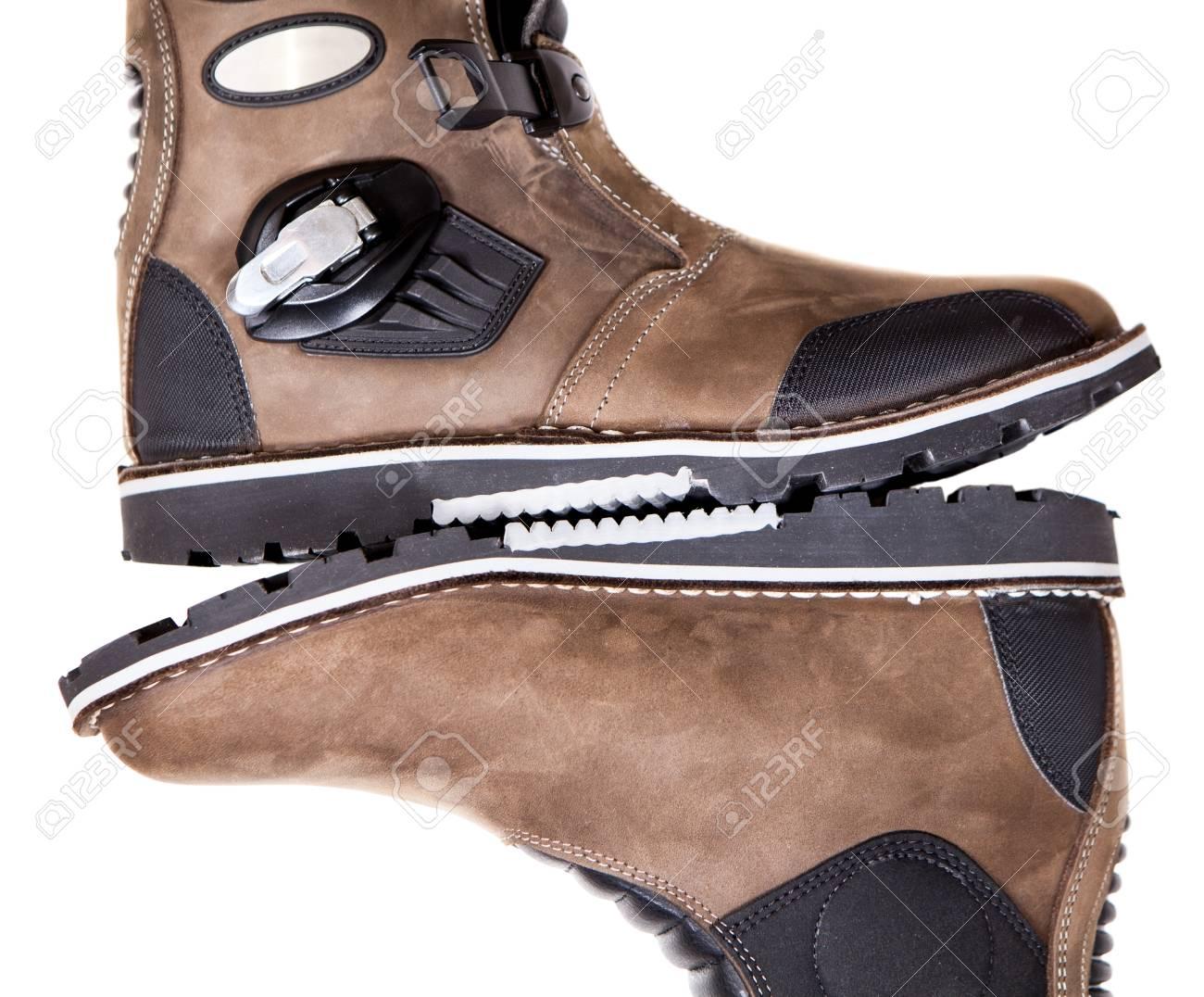 Alte Braune Stiefel Lokalisiert Stockfoto Bild von
