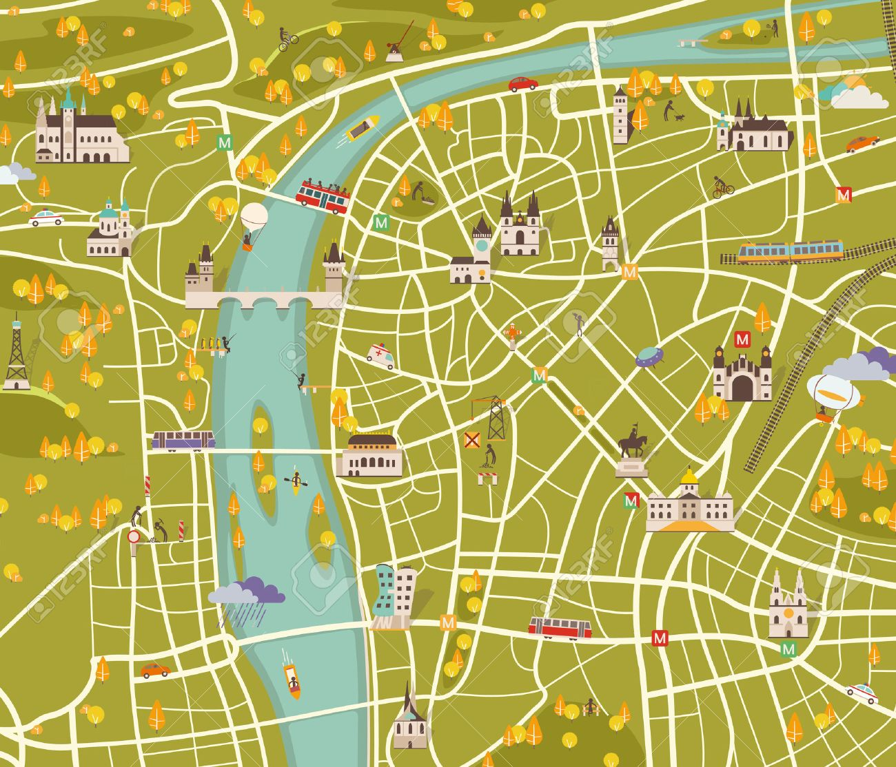 vector graphics modern city map royalty free cliparts vectors and