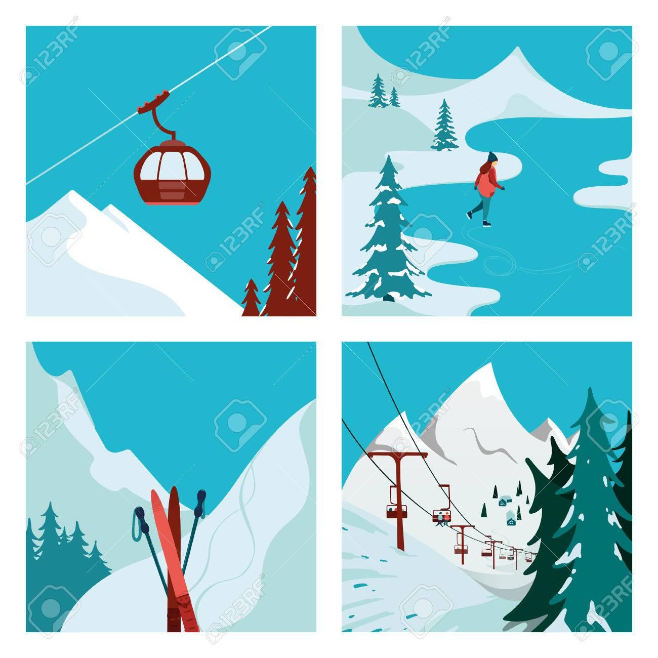 山のスキー場のリフトスケートの女の子冬の風景ベクトル イラスト