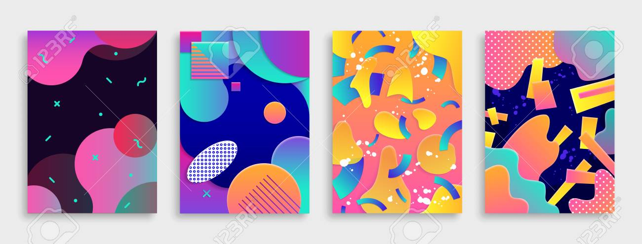 Colored Modern abstract covers set. Vector illustration. - 95749883