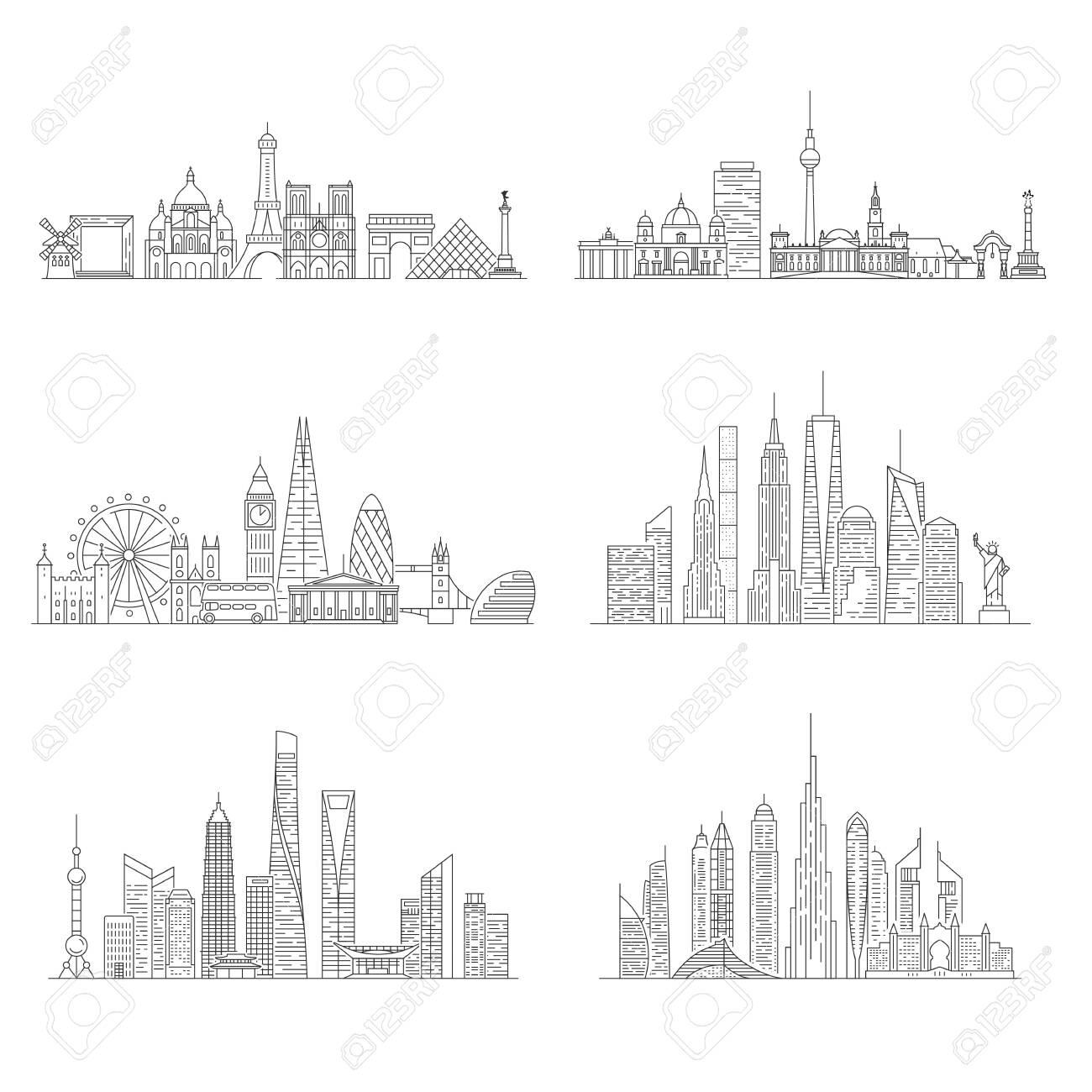 Cities skylines set. New York, London, Paris, Berlin, Dubai, Shanghai Vector illustration line art style - 124106855
