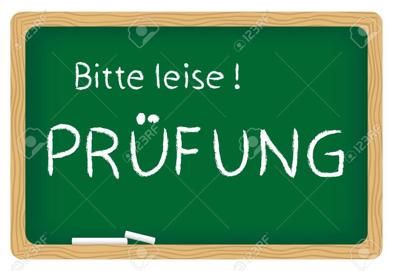 illustration of blackboard bitte leise pr fung please be quiet