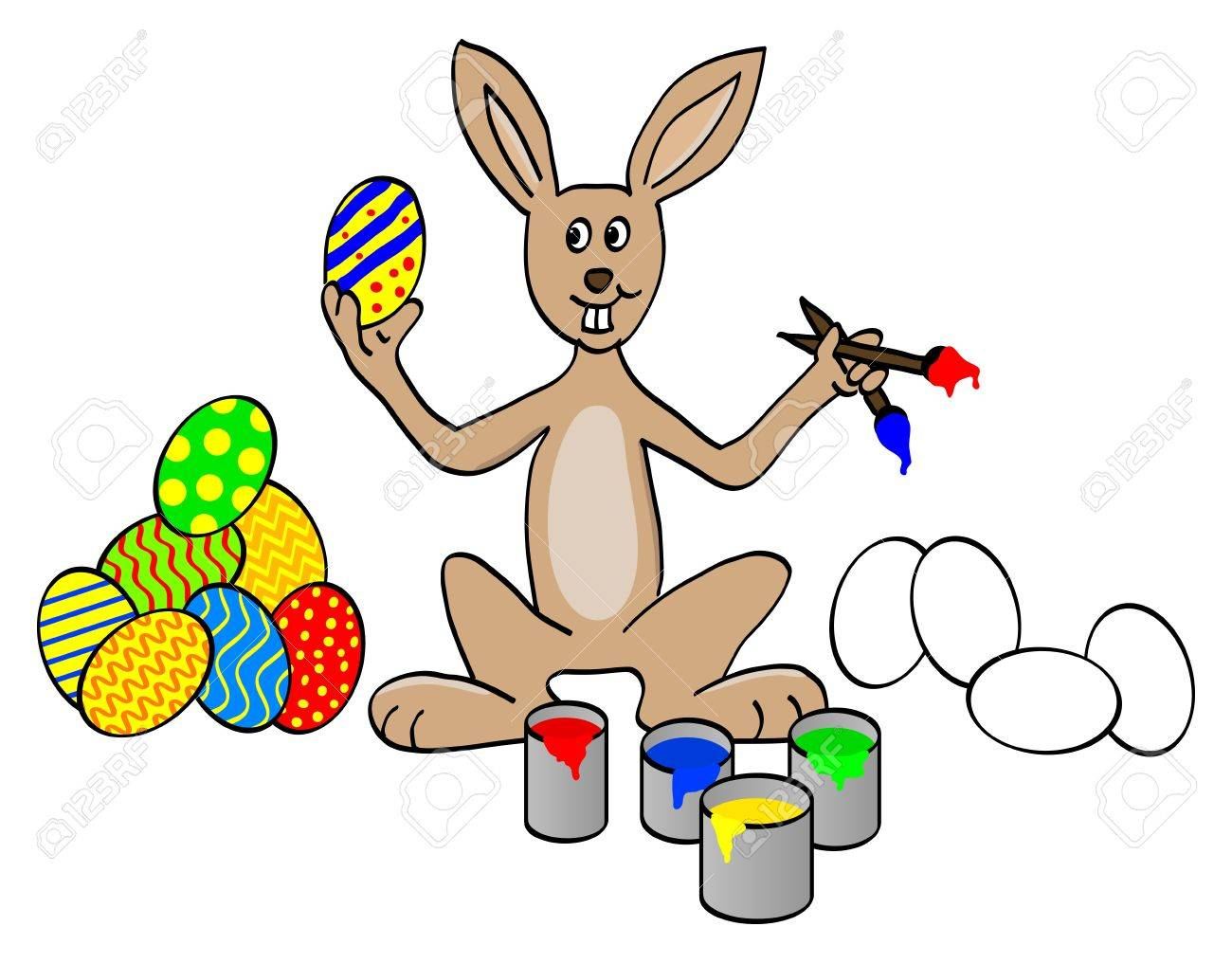 easter bunny painting eggs royalty free cliparts vectors and
