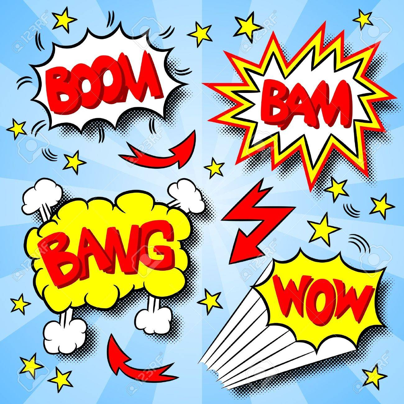 Illustration Of Some Cartoon Text Explosions Royalty Free Cliparts ...