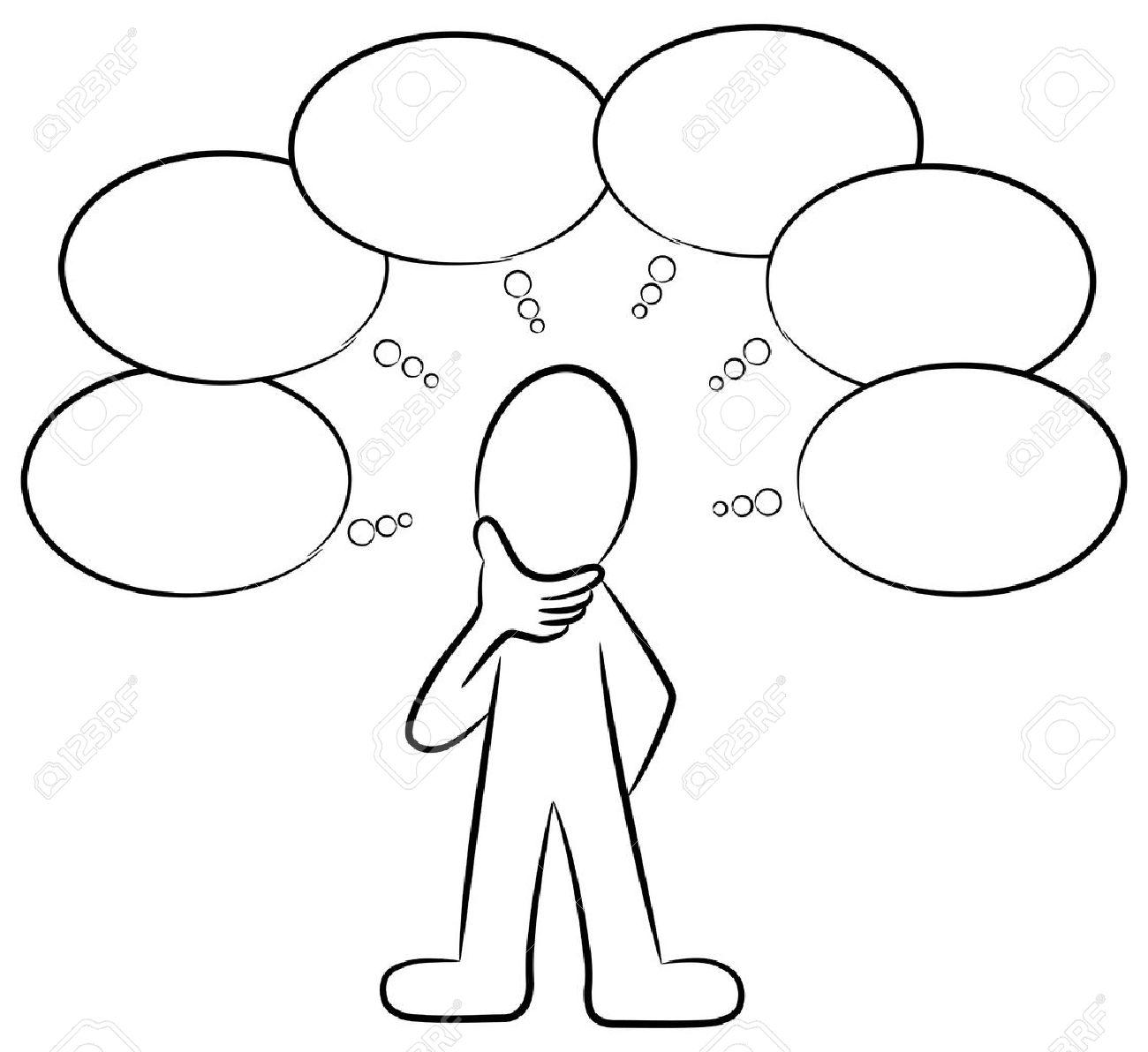 多くのことを考えている人の図のイラスト素材 ベクタ Image