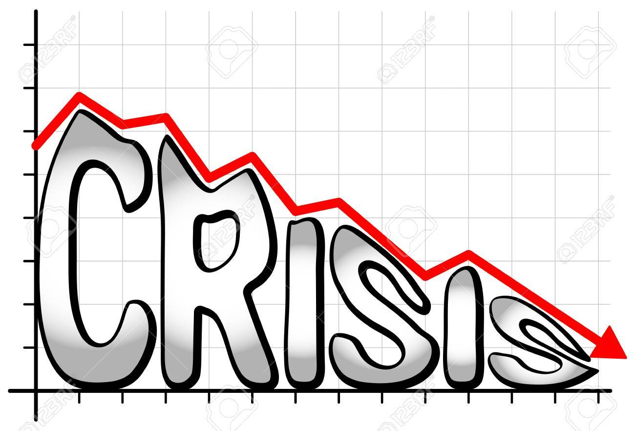 illustration of a falling chart with the writing crisis Stock Vector - 21306076