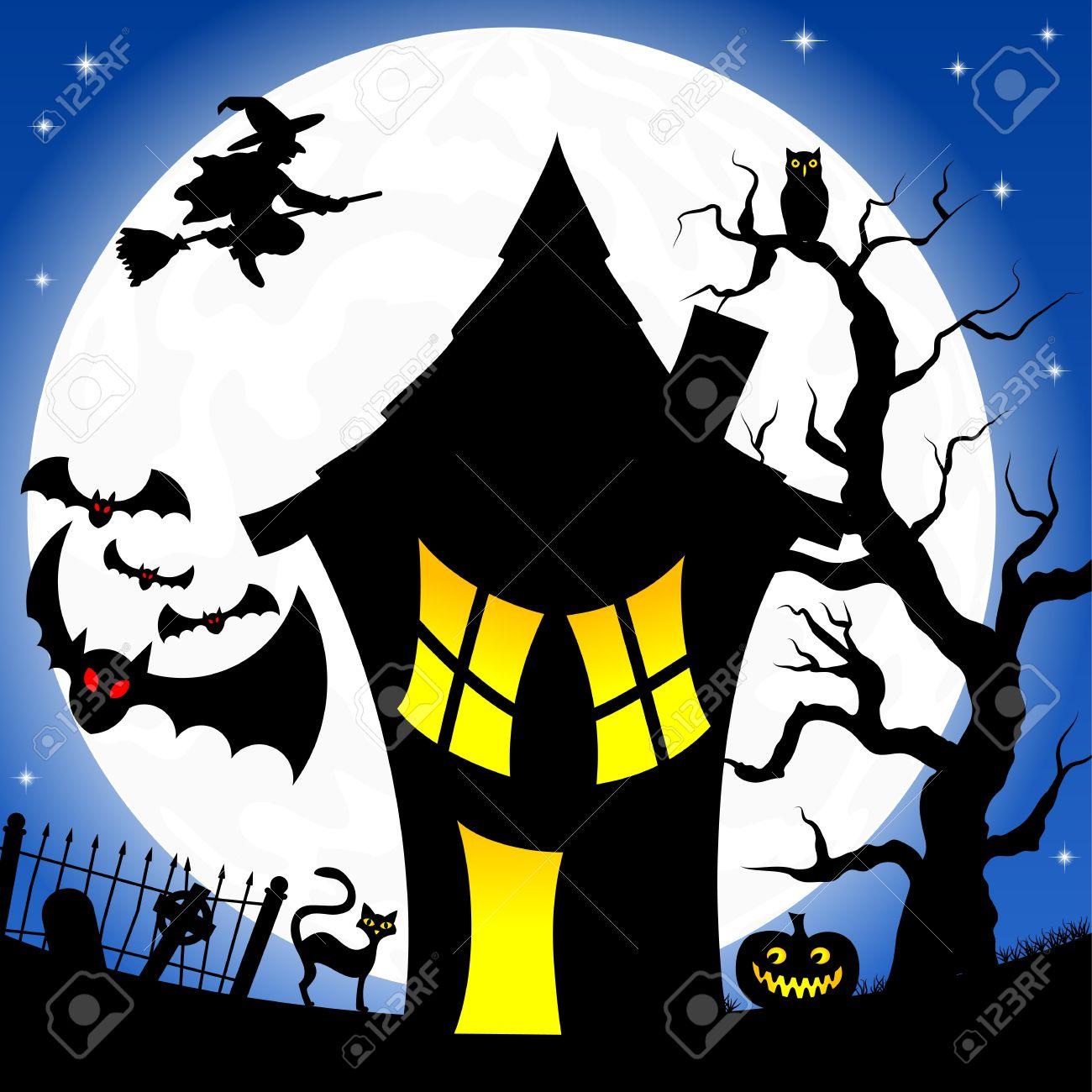 Banque dimages illustration dune maison de sorcière dans une nuit de pleine lune