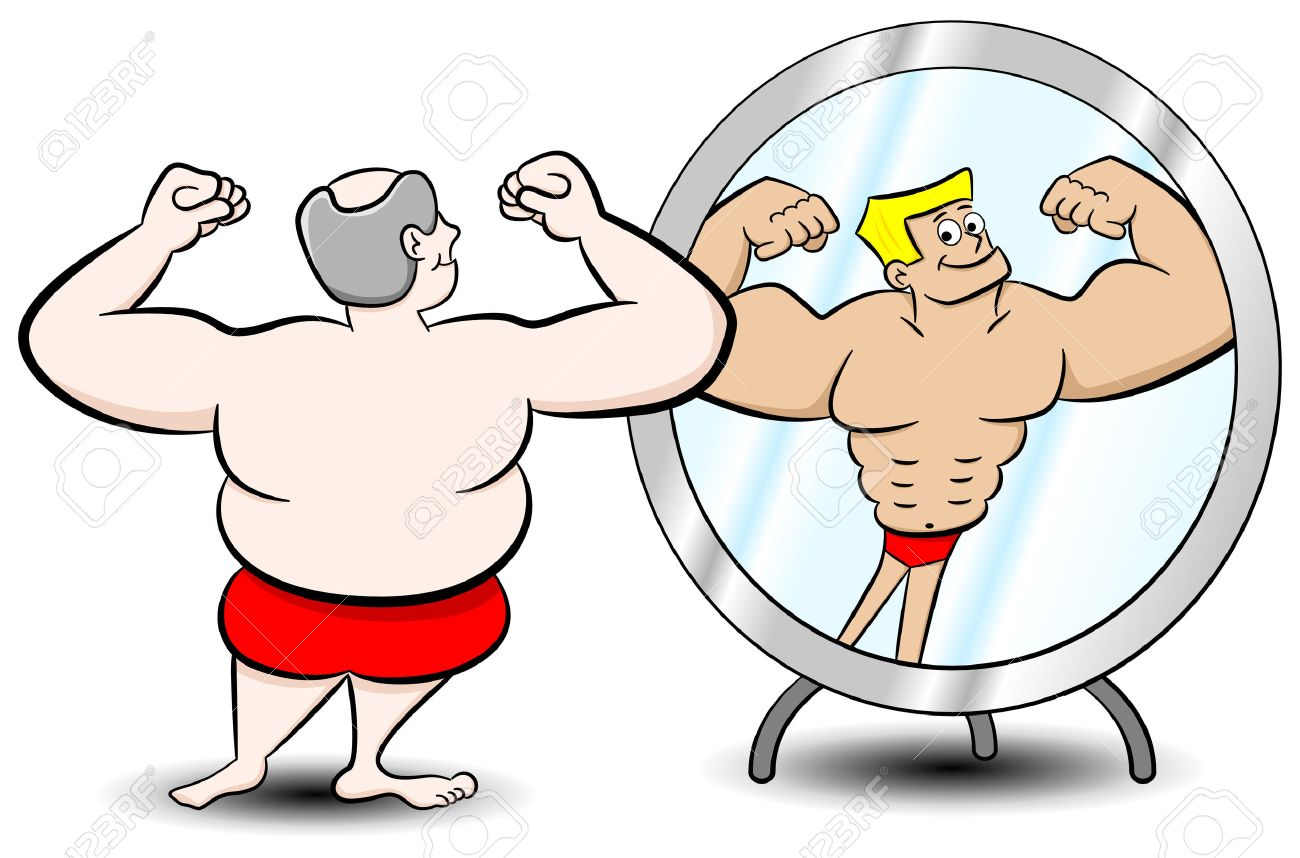 person looking in mirror clipart. vector illustration of a fat man who sees himself differently in the mirror stock - person looking clipart r