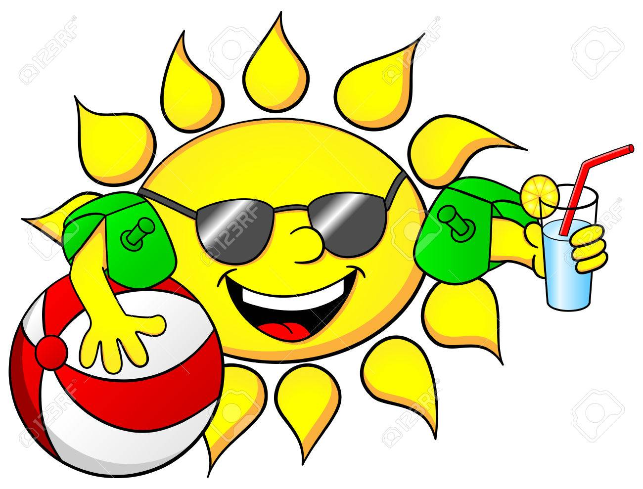 Illustration Of The Sun On Summer Vacation Stock Vector