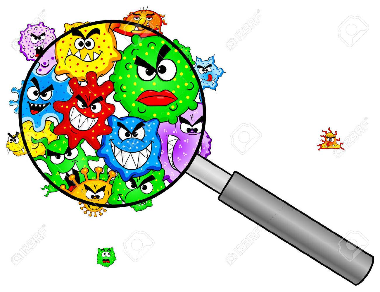 vector illustration of bacteria under a magnifying glass - 29139394