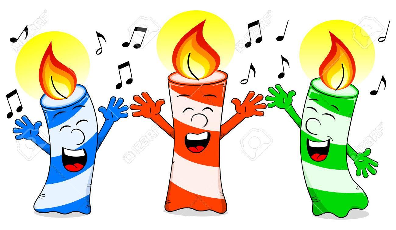 Vector Illustration Of Cartoon Birthday Candles Singing A