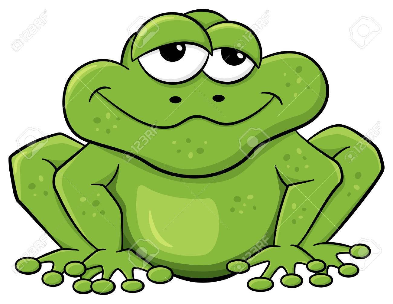 Vektor Illustration Einer Grün Cartoon Frosch Isoliert Auf Weiß