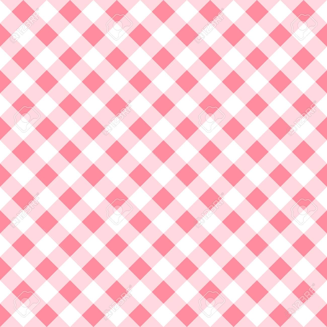 Vector Illustration Of A Seamless Pattern Of A Pink White Plaid Tablecloth  Stock Vector   40831312