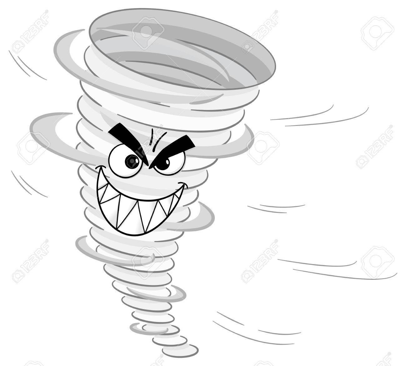Coloring book page of a tornado - Tornado Cartoon Vector Illustration Of A Cartoon Tornado On White Background