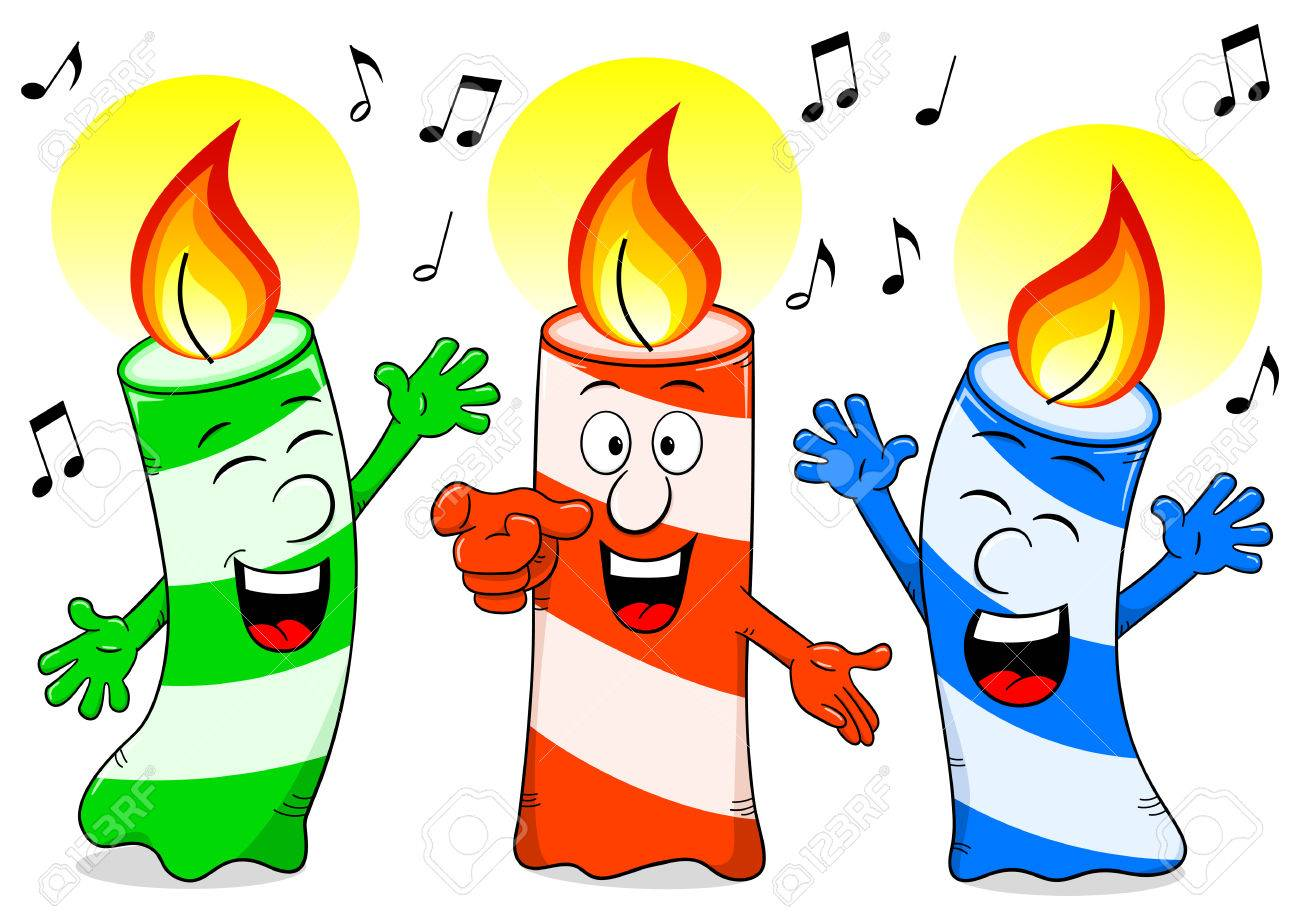 Vector Illustration Of Cartoon Birthday Candles Singing A