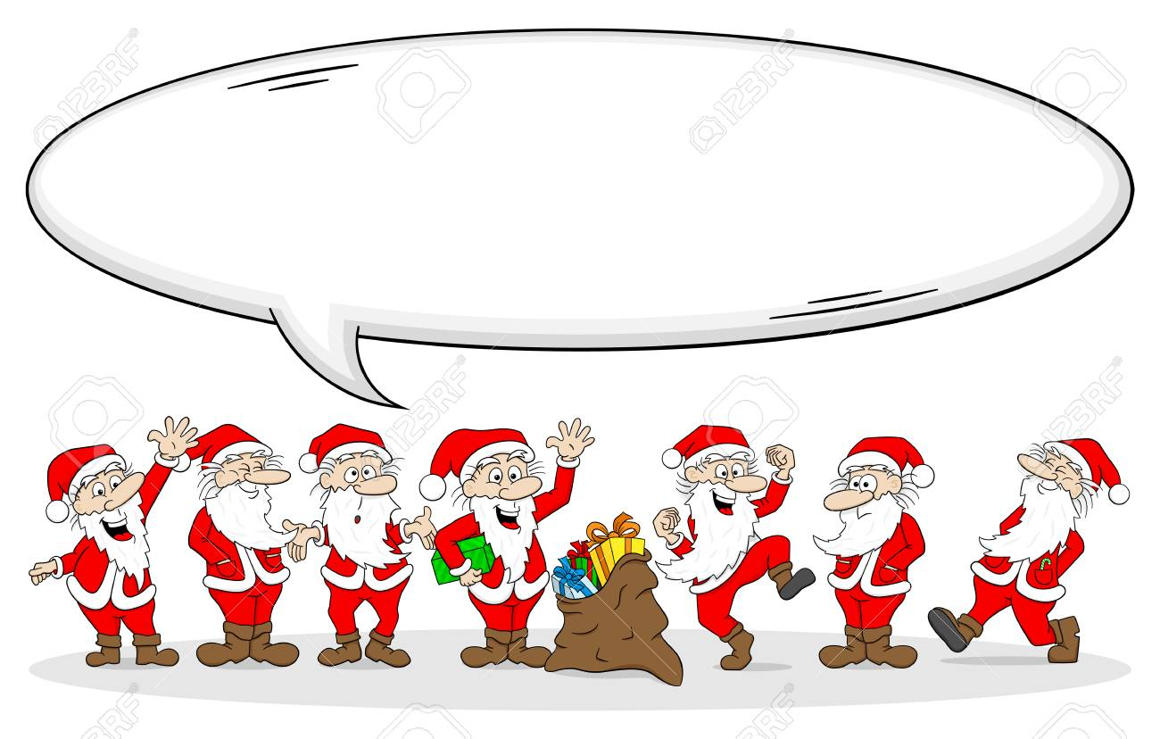 Vektorillustration Einer Gruppe Weihnachtsmann-Wünsche Frohen ...