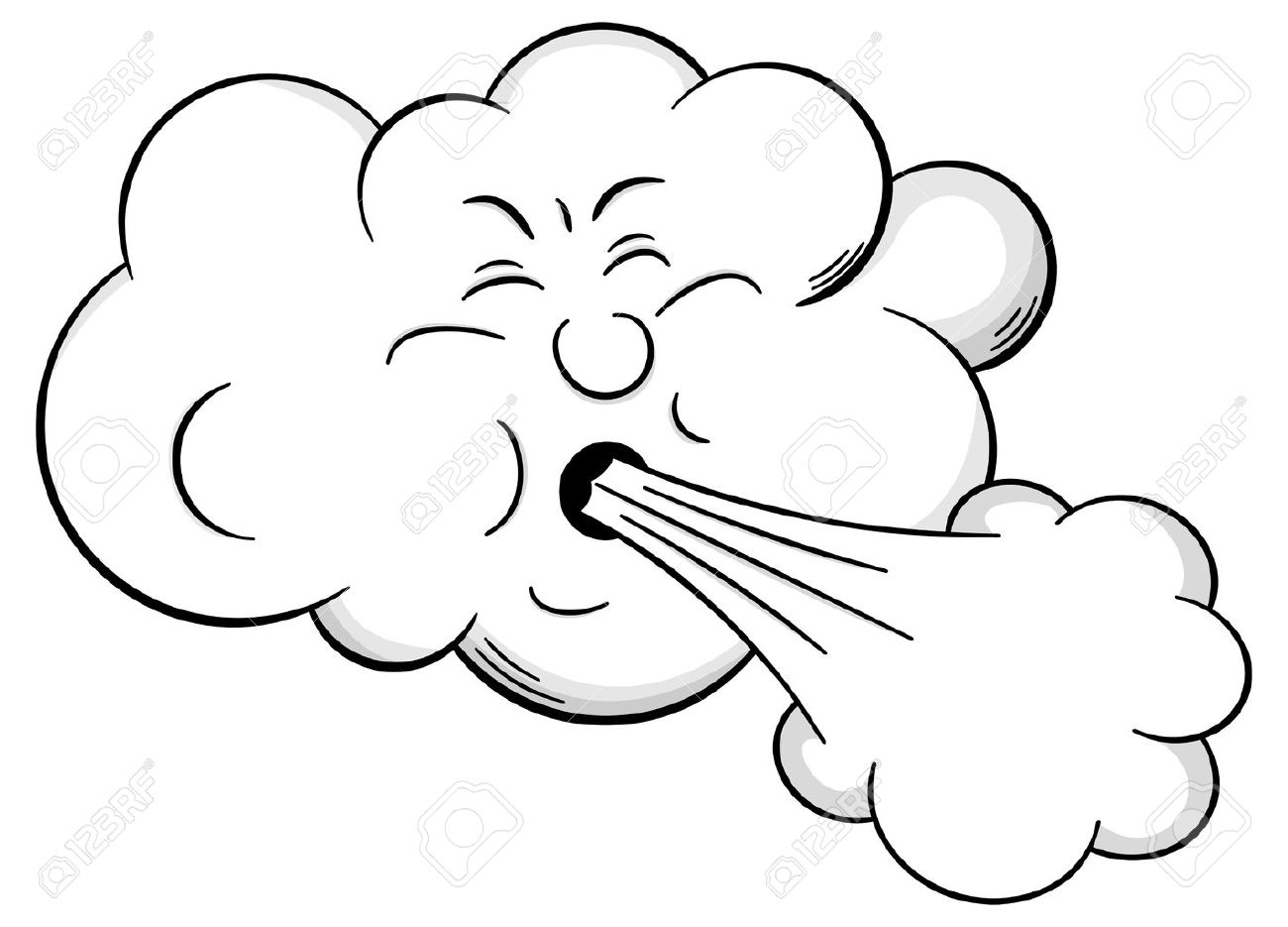 vector illustration of a cartoon cloud that blows wind - 50642160