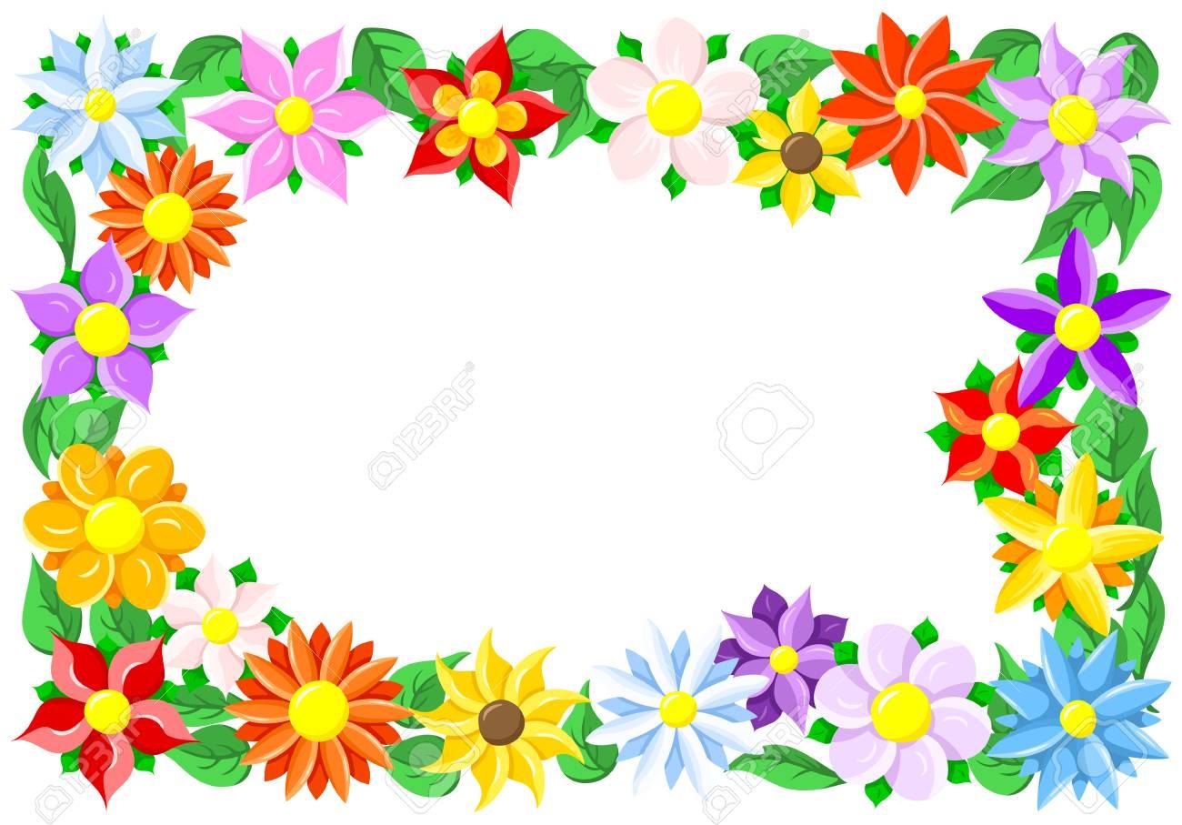 illustration of a colorful flower border - 52826328