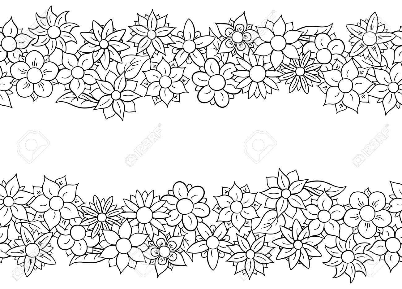 Ilustración De Bordes De Flores Sin Fisuras Horizontales