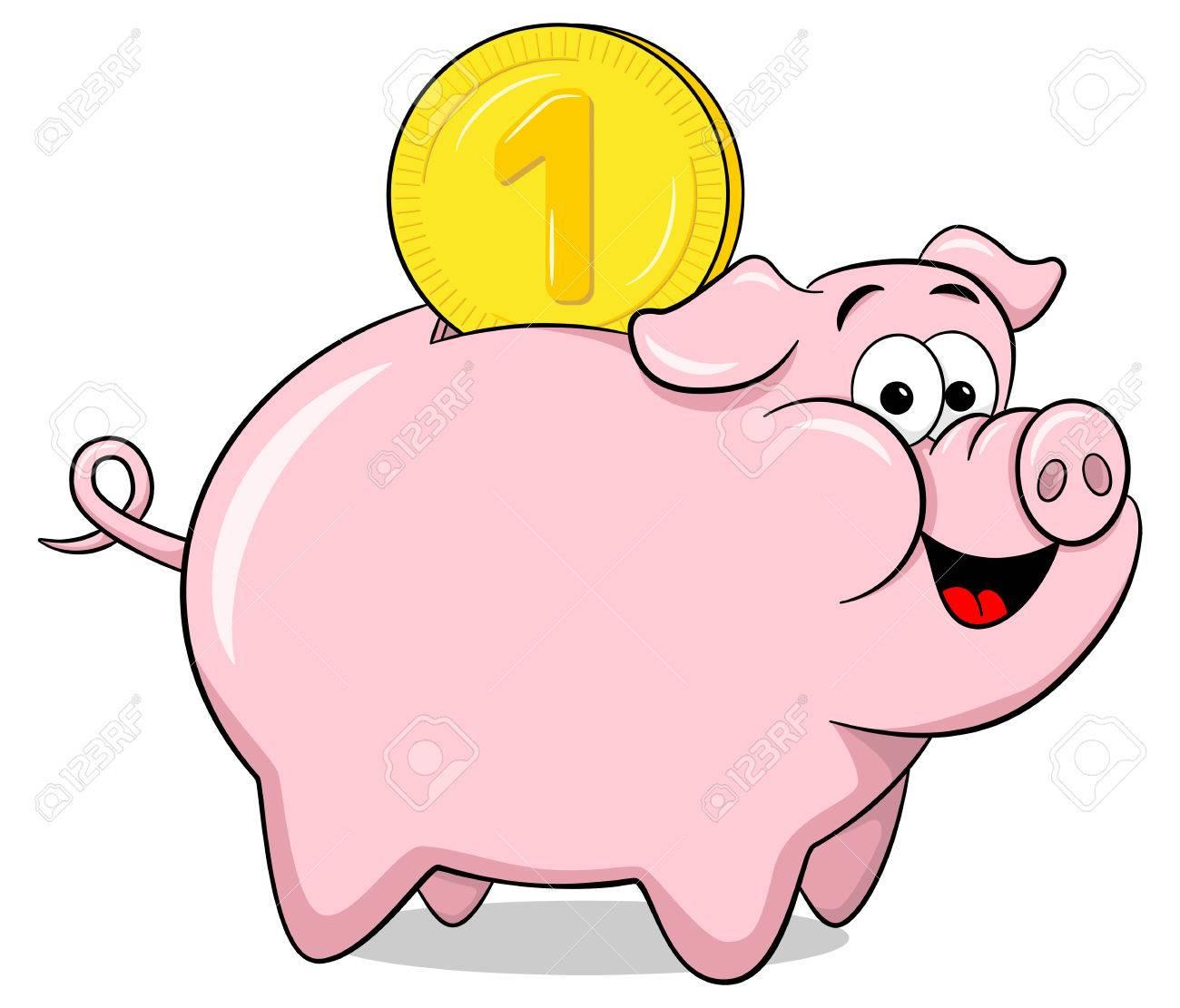 vector illustration of a cartoon piggy bank - 58384058