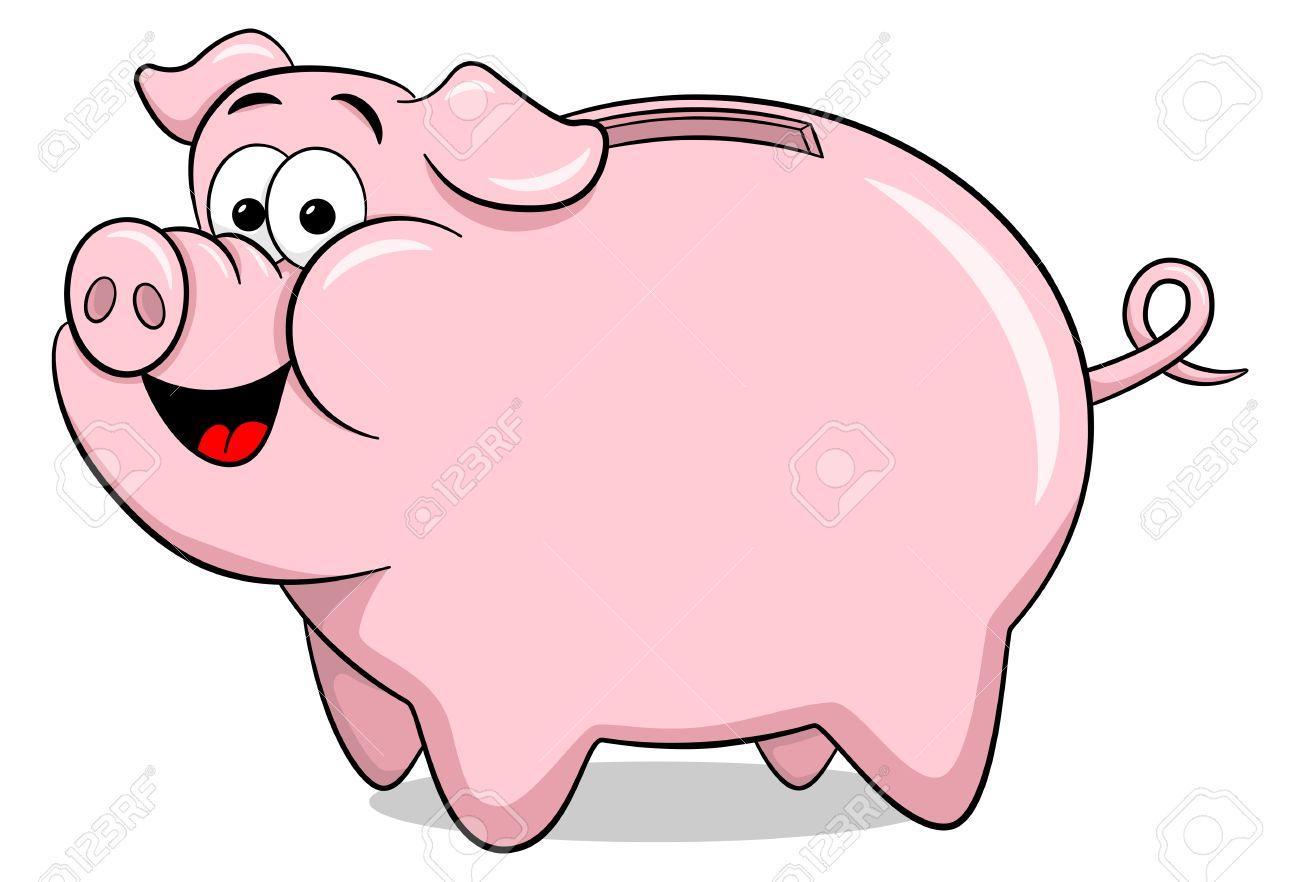 vector illustration of a cartoon piggy bank royalty free cliparts