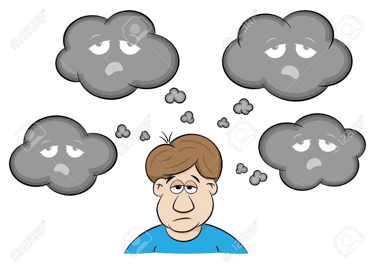vector illustration of a man with depressive thoughts - 61538139