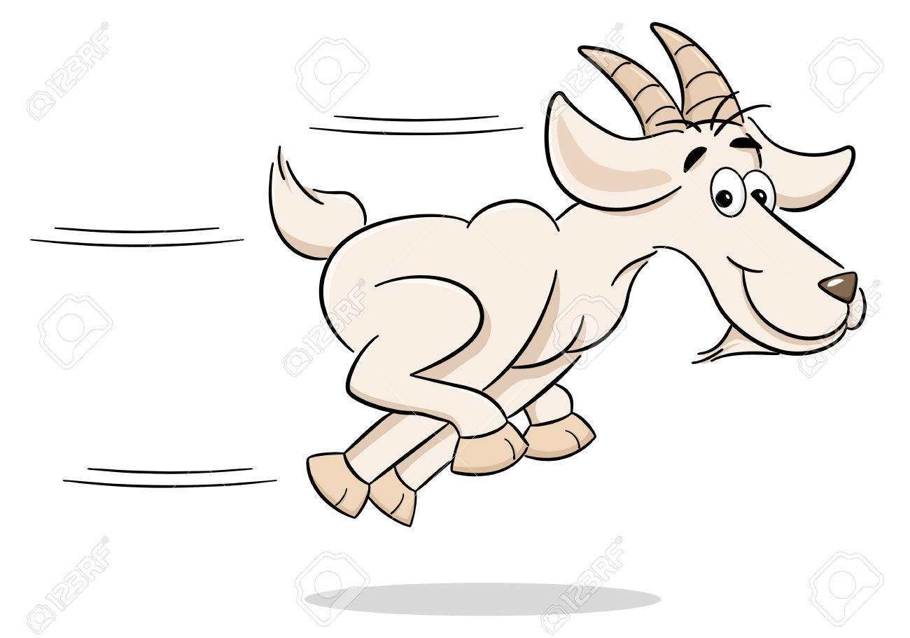 vector illustration of a running cartoon goat - 73539020