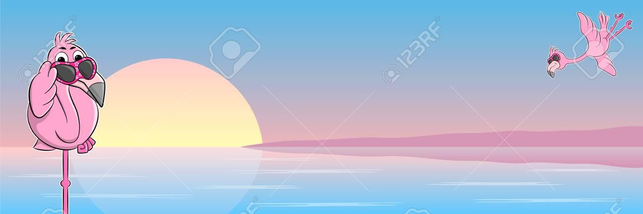 0cb82734458e vector illustration of a cartoon flamingo with sunglasses Stock Vector -  104229807