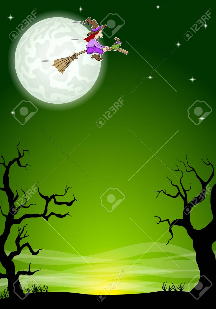 vector illustration of an halloween background with a flying witch and full moon - 108756286