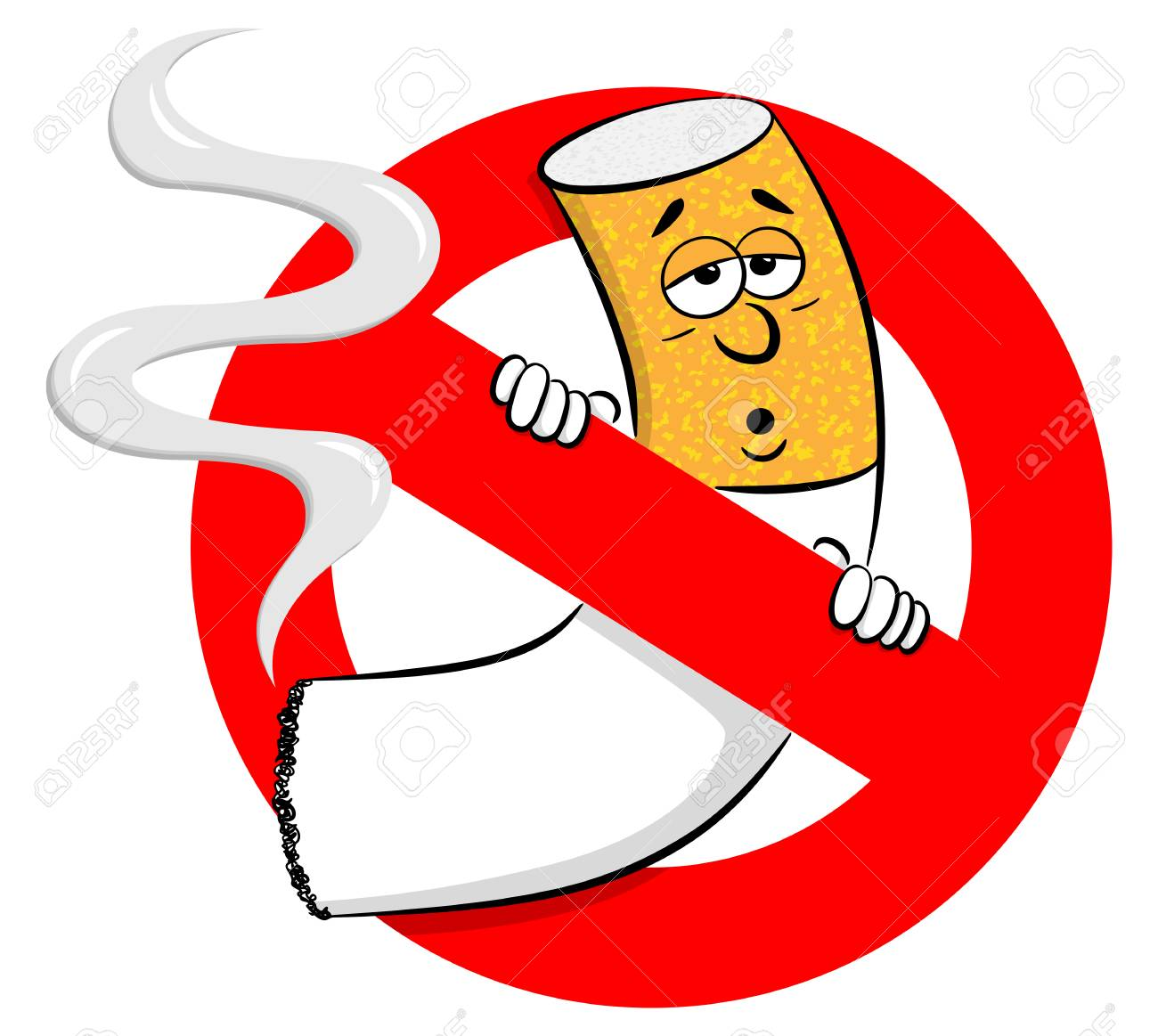 Vector Illustration Of A No Smoking Sign With Cartoon Cigarette Royalty Free Cliparts Vectors And Stock Illustration Image 124670319