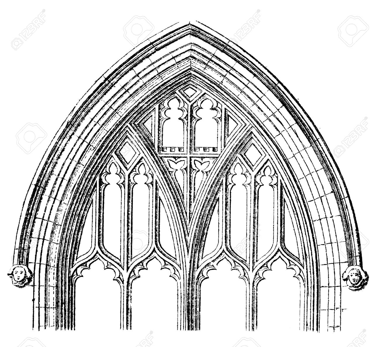 Victorian Engraving Of A Gothic Cathedral Window Arch Digitally Restored Image
