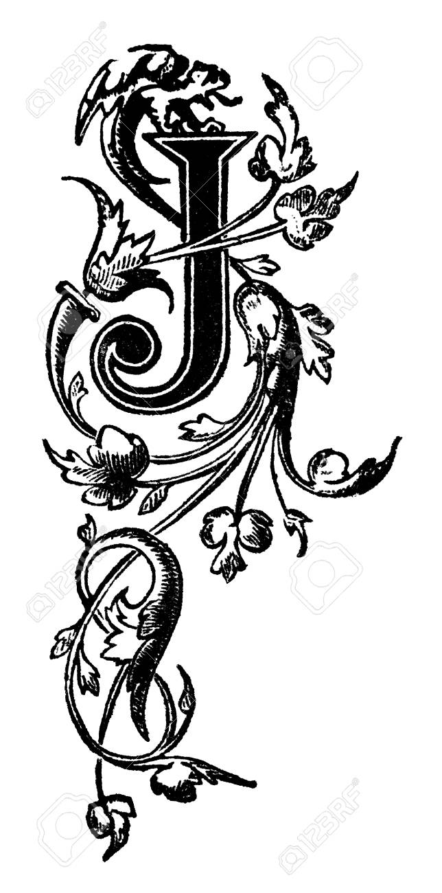 Victorian Elegant Design Vine Pattern Letter J. Digitally Restored