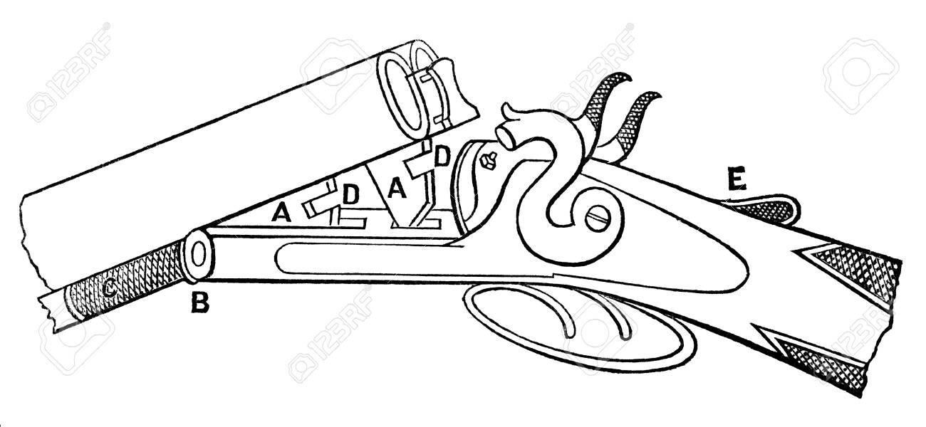 Victorian Engraving Of A Diagram Of A Shotgun Digitally Restored