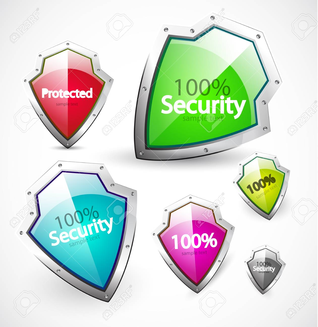 Protected and security icons Stock Photo - 11330061