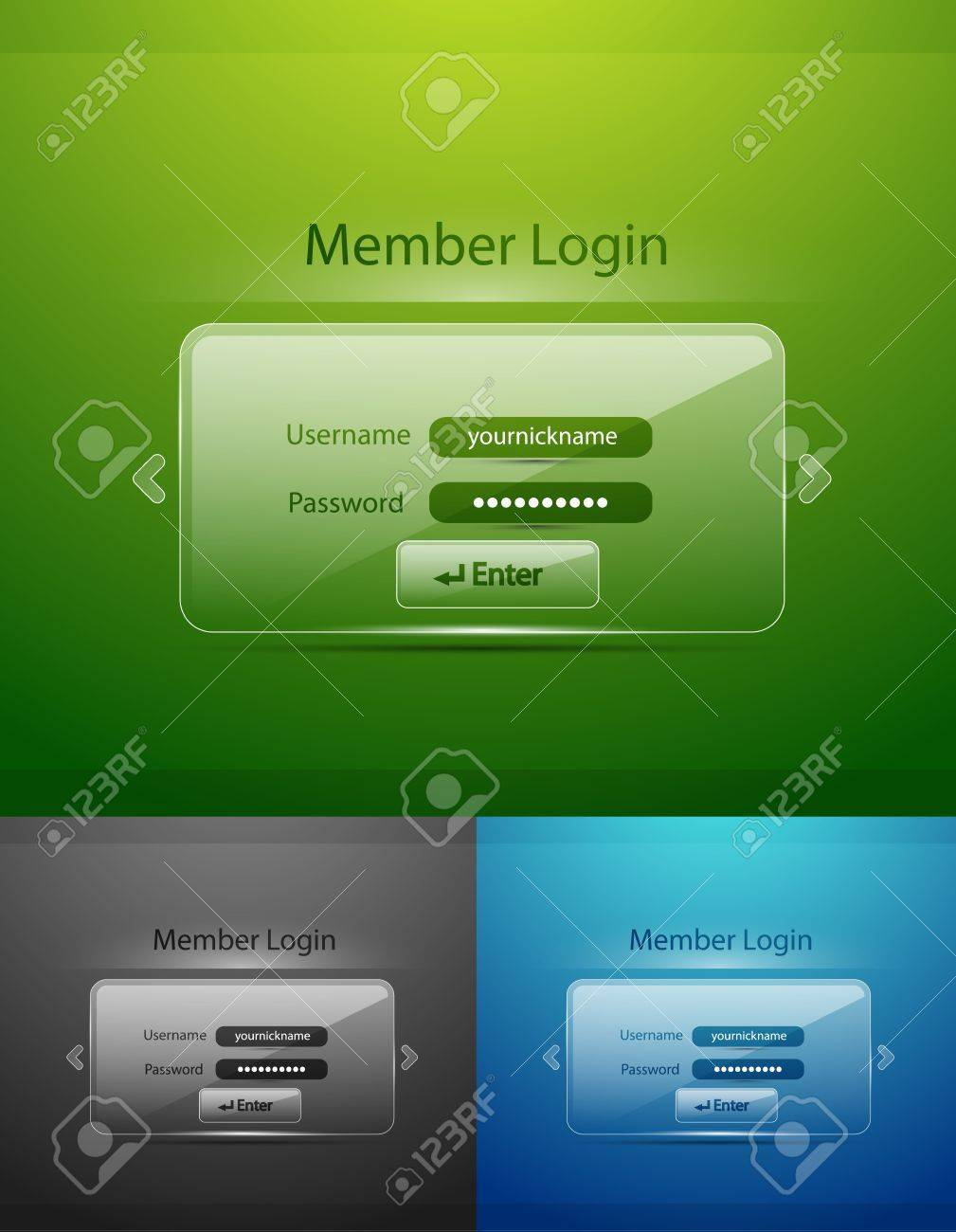 Vector glass login page Stock Vector - 13003594