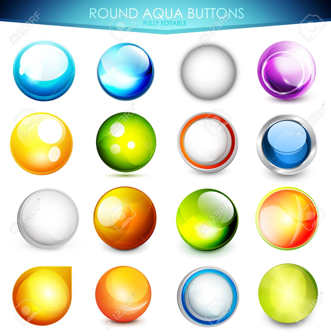 Set of colorful aqua buttons Stock Vector - 14572188