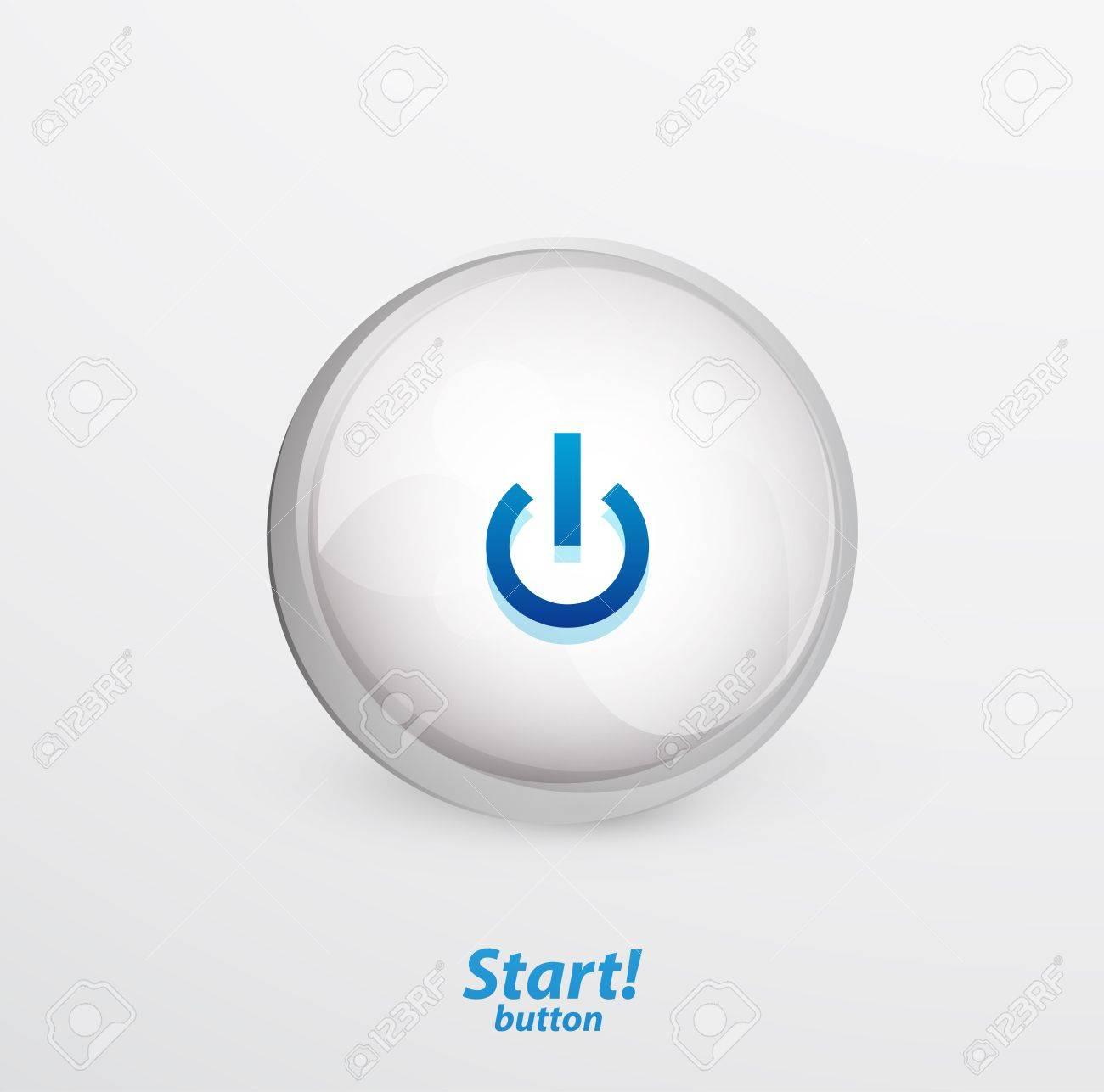 Blue start button Stock Vector - 15800066