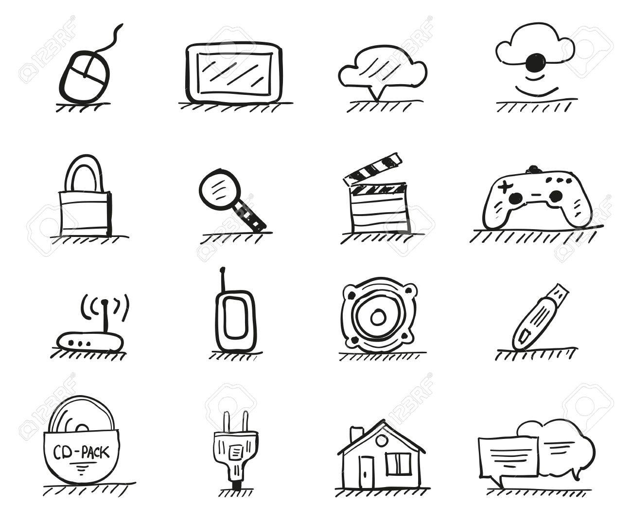 Web hand drawn icons Stock Vector - 16520494