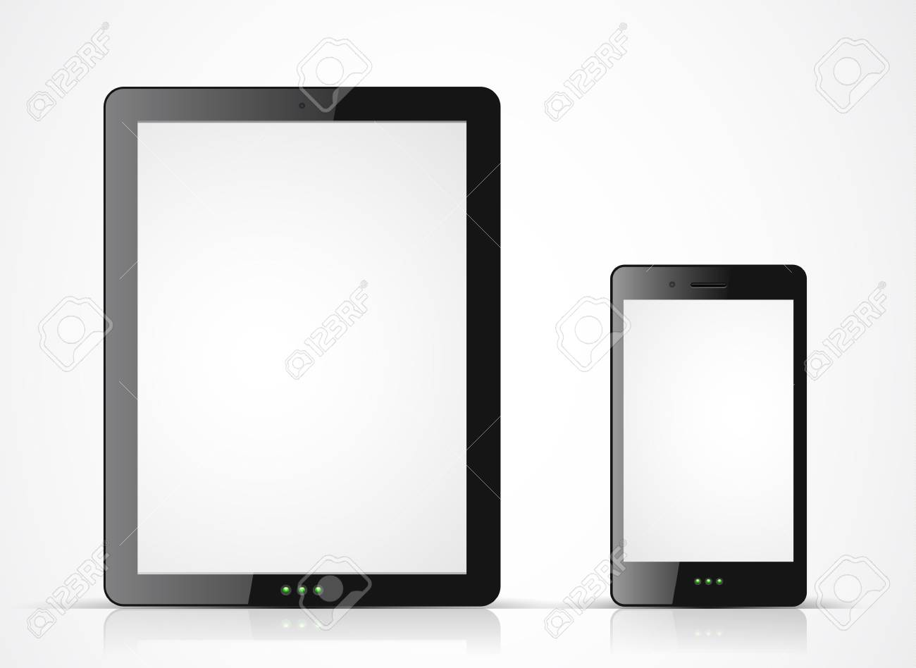 black tablet pc and mobile phone on white background Stock Vector - 16721256