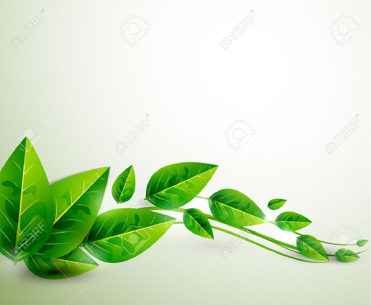 Nature Green Leaves Vector Flying Leaves Abstract Background
