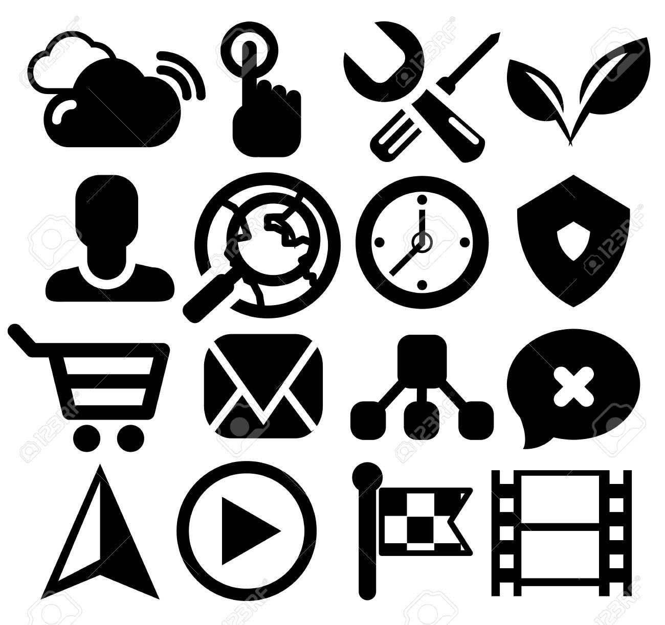 Modern black web icon set Stock Vector - 17776350