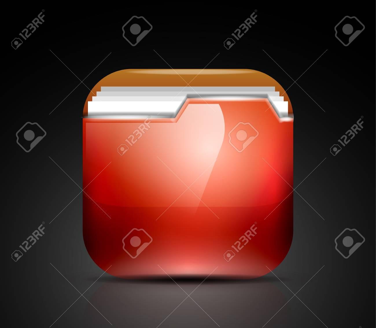Glossy folder icon Stock Vector - 19008591
