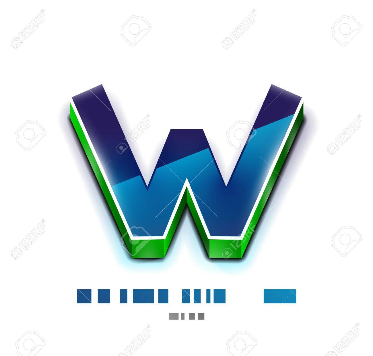 3d vector W letter  Tecnology business symbol Stock Vector - 19149901