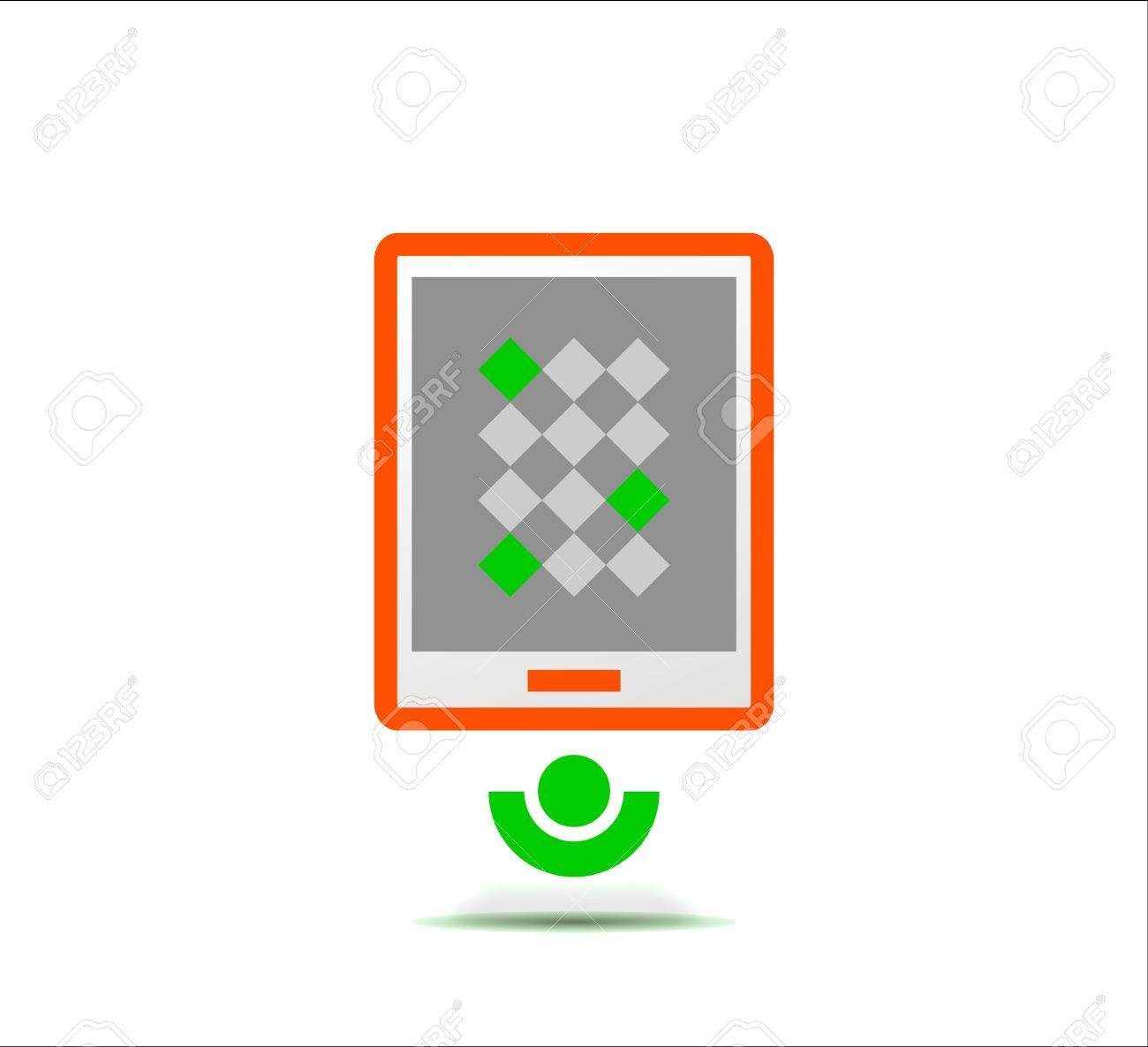 Simple stylized colorful icon - tablet Stock Vector - 19338243