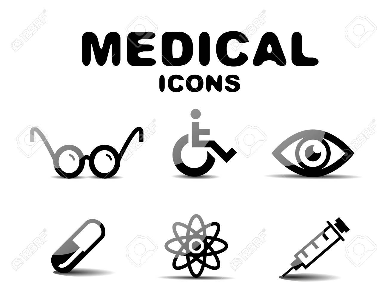 Black glossy medical icon set Stock Vector - 19903152