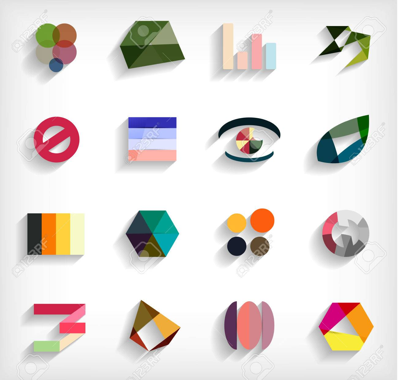 3d flat geometric abstract business icon set Stock Vector - 23462737