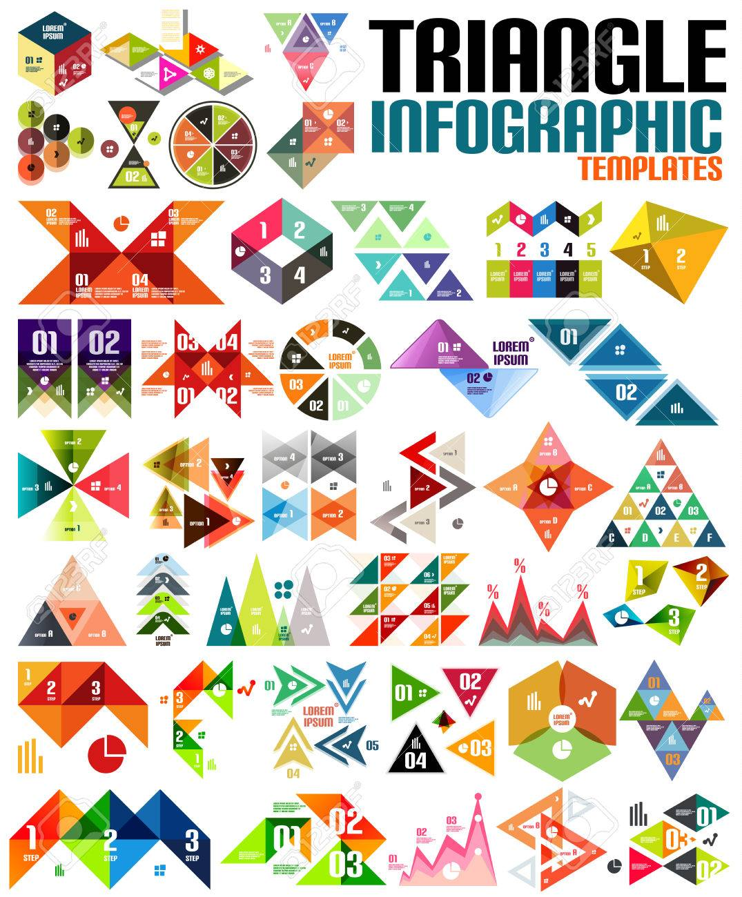 geometric shape infographic template set triangles squares