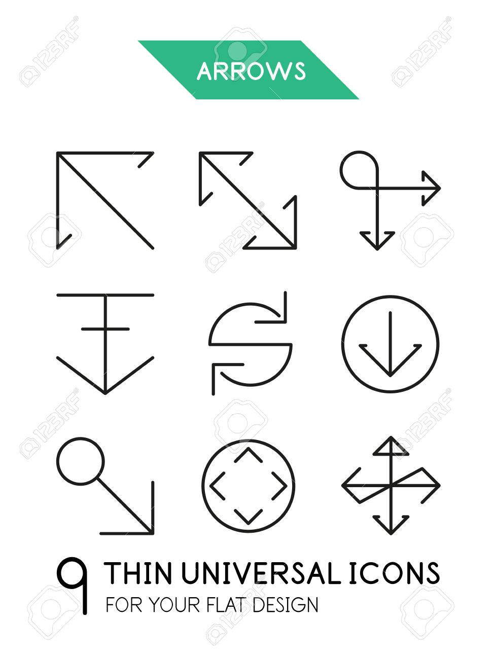 Arrow Thin Line Icon Set 9 Computer Symbols For Your Flat Deisgn