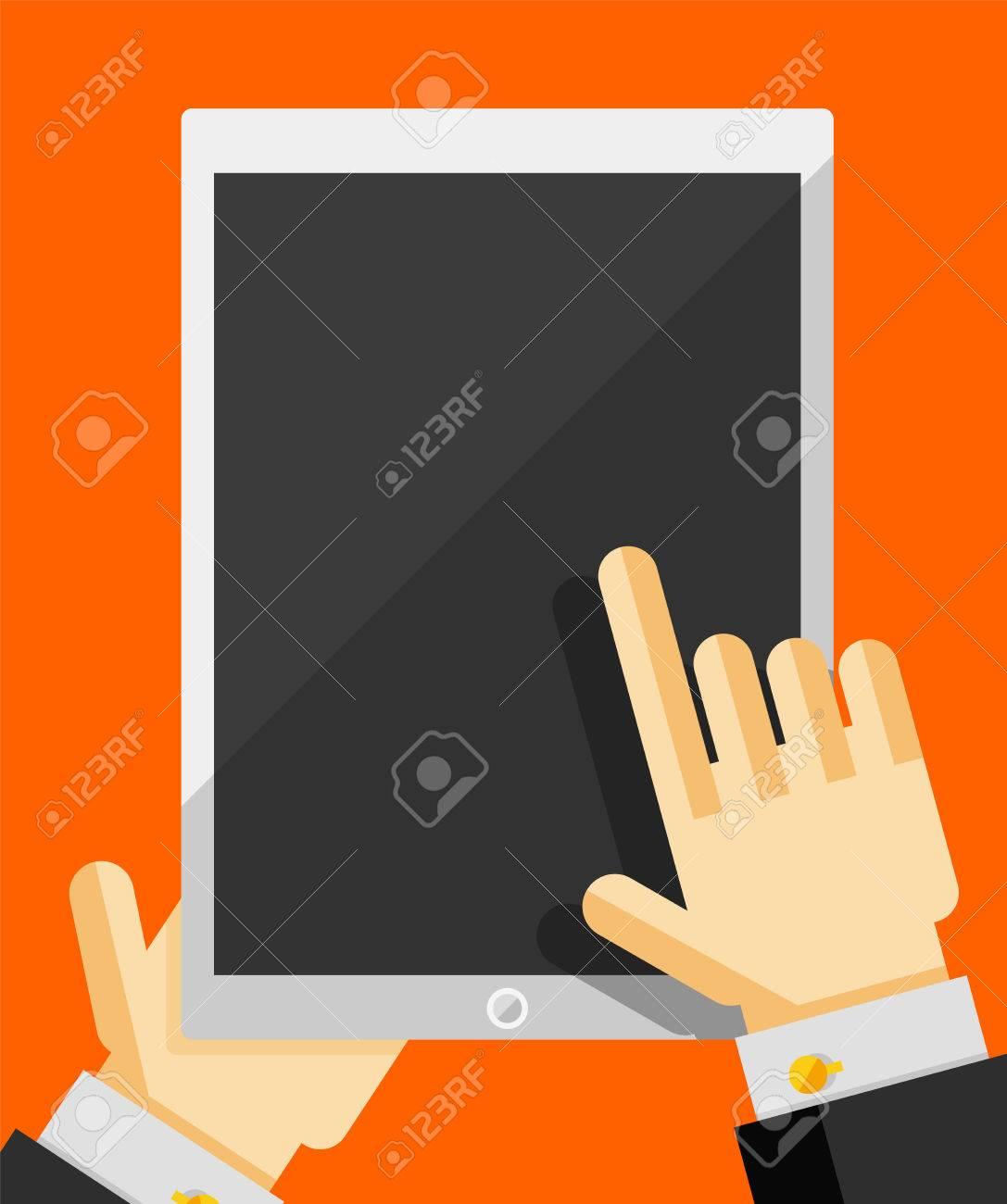 Businessman's hand holding tablet trendy flat design Stock Vector - 27209090